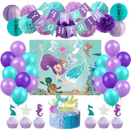 Kreatwow Mermaid Party Decorations Supplies Favor Games Kit