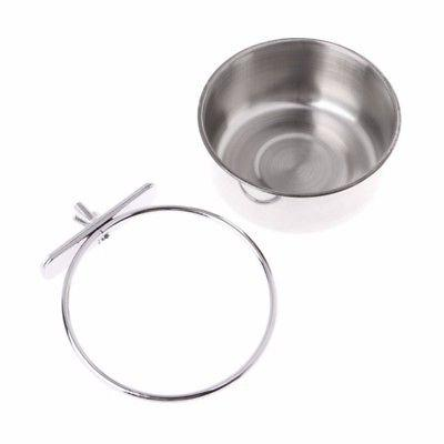 Pet Stainless Food Water Bowl Cage Cup Hanging Hook Tool New