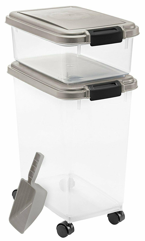 premium airtight pet food storage container rolling