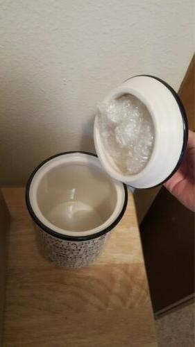 Bone Ceramic Dog Canister Jar with Lid