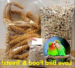 Love Bird Food & Treat Bundle! 5 lbs Feed 8 oz Millet w/Calc