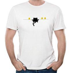Men's Unique Funny Dad T-Shirt Cat and Bird Print Tee Shirts