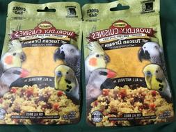 NEW 2 PACKAGES OF WORLDLY CUISINES GOURMET BIRD FOOD APPETIZ