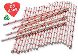 Paper Straws with Tiny Red Hearts – 25 pack – Biodegrada