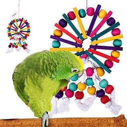 QBLEEV Parrot Cage Chewing Toys Bird Rope Wood Beads Toy For