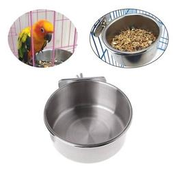 Pet Bird Cat Dog Stainless Steel Food Water Bowl Cage Cup Ha