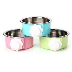 Pet Dog Cat Stainless Steel Hanging Food Water Bowl Puppy Bi