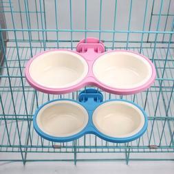 Pet Durable Bowl Cage Dual Removable Bolt Holder Bowl Dogs C