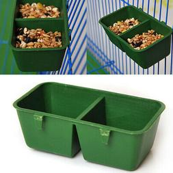Plastic Double Cup Bird Parrot Pet Cage Water Food Bowl Feed