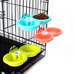 Pet Cat Dog Bird Rabbit Double Bowl Small Feeder Cage Food W