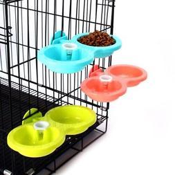 Small Pet Cat Dog Bird Rabbit Dual Bowl Feeder Cage Feeding