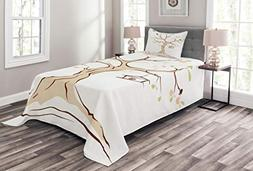 Ambesonne Tree Life Bedspread Set Twin Size, Mature Apple Tr