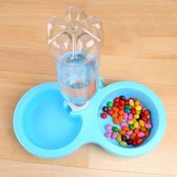 US S-L Pet Cat Dog Bird Rabbit Dual Bowl Feeder Cage Food Wa