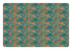 Ambesonne Vintage Pet Mat for Food and Water, Nature Scroll