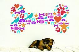 Wall Decal Sale : Colorful Dog Bone Design Paw Print Bird Fo