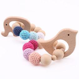 2pc baby Wooden Teethers Organic Elephant Bird shaped Teethi